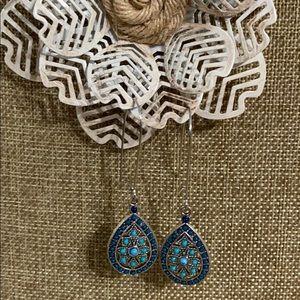 Faux Turquoise & Lapis look Boho Earrings